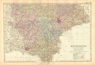 1892 Large Victorian  Map- Devonshire, South,exeter,torquay,plymouth,tiverton