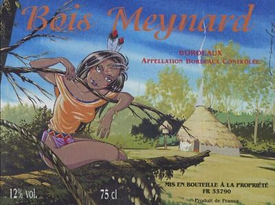 Etiquette de Vin Pin-Up Indienne - Bois Meynard
