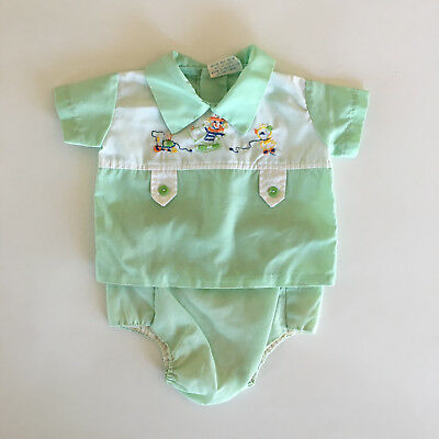 Vintage 2 Piece Baby Outfit w/ Embroidered Jack in the Box Size 0-6 Months