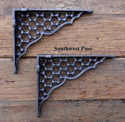 "Classic Pair Of Large Honeycomb Antique Style Cast Iron Shelf Brackets 6"" Deep"