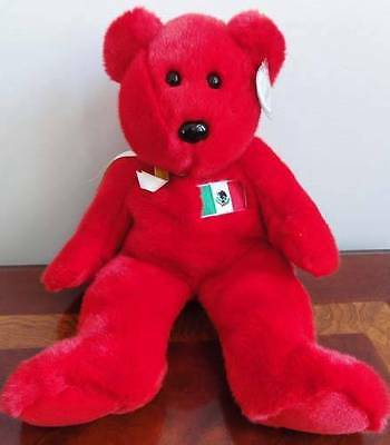 TY BEANIE BABIES BABY BUDDY OSITO the RED BEAR MEXICO FLAG MWMT