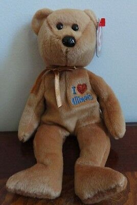 """Ty Beanie Babies Baby I Love Illinois State Brown Bear  9""""  Mwmt 2004"""