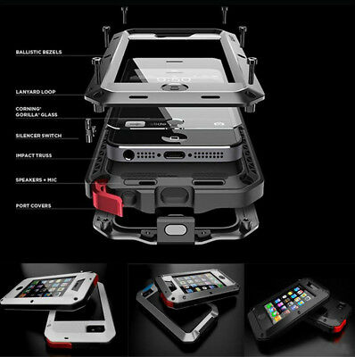 For iPhone 4s Rugged Aluminum Metal Hybrid Glass Shockproof Case Cover