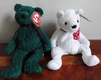 """Ty Beanie Babies Baby 2000 & 2001 Holiday Teddy  Bear White Green Red 8"""" Mwmt"""