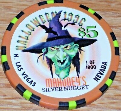 $5 Halloween 1996 Gaming Chip From Mahoney's Silver Nugget Casino Las Vegas Nv