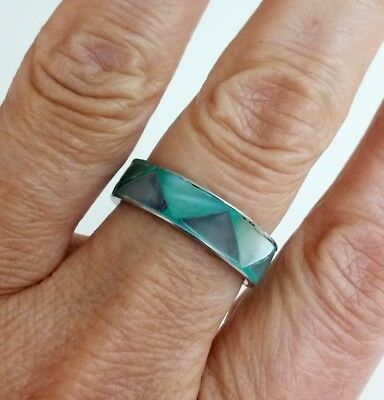 Vintage Inlay Green Mother Pearl Silver Tone Band Ring Size 8.5