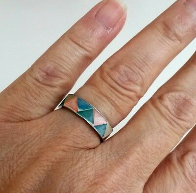 Vintage Inlay Multi Mother Pearl Silver Tone Band Ring Size 6.5