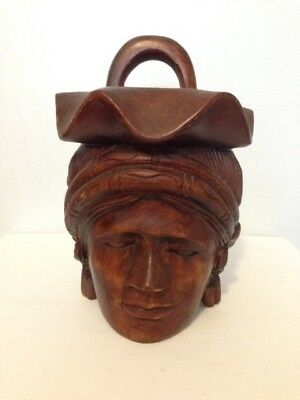 Vintage Wooden Carved Head With Handle and Bowl Made In Phillipines