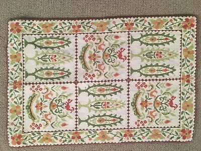 Vintage Greek hand made needlepoint wool area rug 35 x 24 inches