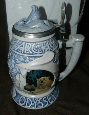 Avon Collectible Beer Stein Arctic Odyssey Ceramic w/ Pewter Lid New in Box
