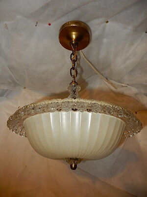 Antique Cream glass art deco light fixture ceiling chandelier Ca. 1940s
