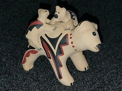 Vintage Handmade Perez Pottery - Bear with Cubs Figure - Signed M.S. Toya