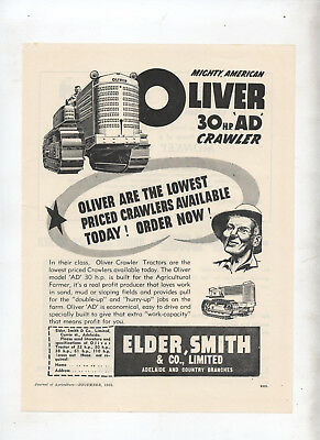 Oliver AD Crawler Tractor Advertisement removed from 1952 Australian Journal