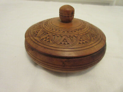 Antique Small Wood Bowl With Lid -- Solid Wood With Hand-Carving - From Germanyy