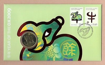 "2009 Christmas Island "" Year Of The Ox "" Pnc~ Contains Special Release$1 Coin ~"