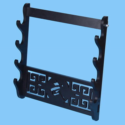 4 Tier Wall Mount Samurai Sword Katana Holder Stand Bracket Rack Display Black