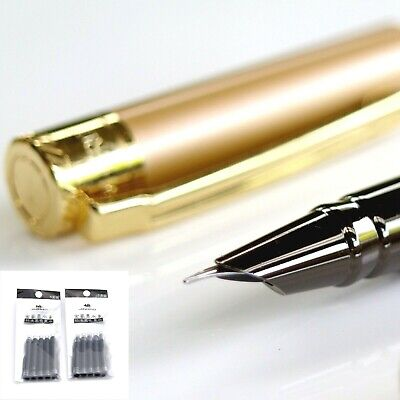 New Fine Nib Fountain Pen Copper Gold Hero 7037 + Ink Converter + 10 Cartridges