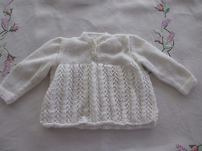 Vintage look new Baby knitted Jumper White,beautifully handmade,