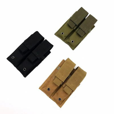 Molle Tactical Hunting Double Pistol Magazine Mag Pouch Holster Belt Clip Bag
