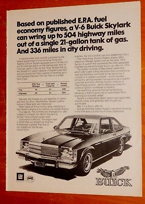 1975 Buick Skylark Coupe With V6 Mpg Ad - Vintage 70S Retro American Car Auto