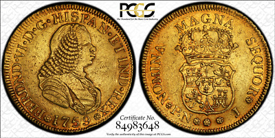 G025 Very rare COLOMBIA. 1759-J 4 Escudos gold. Popayan mint.  PCGS AU50