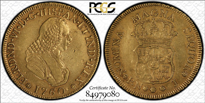 G026 Very rare COLOMBIA. 1760-J 4 Escudos gold. Popayan mint.  PCGS XF45