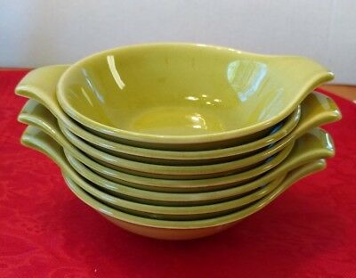 Russell Wright American Vintage Small Lug Handle Avocado Soup Bowls Lot of 7