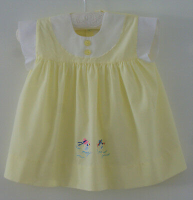 VINTAGE BABY GIRL S 6-12mth, LEMON DRESS ~  COLLECTORS, REBORN DOLLS, PHOTO PROP
