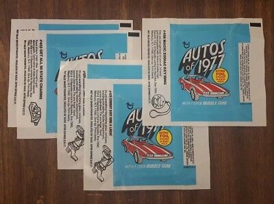 (5) 1976 Topps Autos Of 1977 Empty Wrappers 0-409-21-01-6 #453 #429 #458