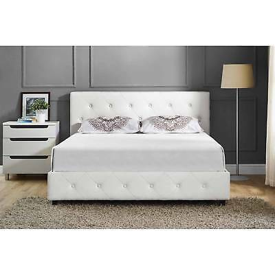 UPHOLSTERED BED Frame Queen Size White Faux Leather Modern Bedroom ...