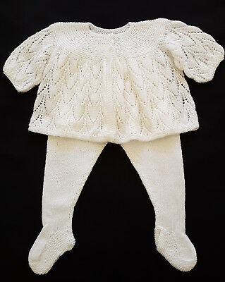 Vintage Baby Hand Knit Jacket & Leggings ~  Collectors, Reborn Dolls, Photo Prop