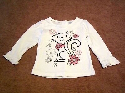 Baby Girls WonderKids Kitty w/Glitter Flowers White Long Sleeve Shirt Size 18M