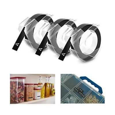 "3 Pack DYMO 3D Label Maker Embossing 3/8"" Inch Refill Tape Roll Organizer Black"