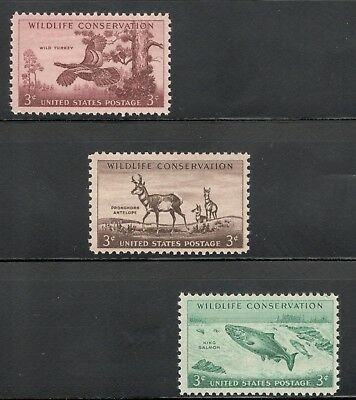1077-78-79 Wildlife Conservation 60+ Year Old Complete Set Of 3 Mint/nh (A-51)