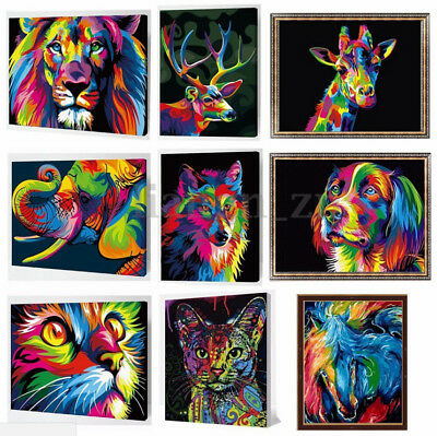 AU Wooden Framed Number Kit Painting By Multi-Colored Cat Dog Lion Animals New