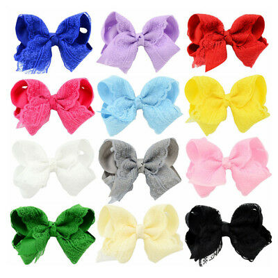 Kids Girls Boutique Crochet Floral Lace Hair Bows Alligator Pin Clip Headwear