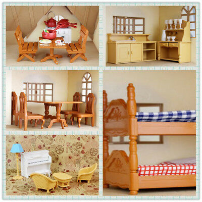 1/12 Dolls House Miniature Bedroom Kitchen Living piano Room Furniture Toy