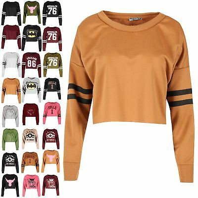 Womens Sports Stripe Long Sleeve Knit Baggy Crop Top Ladies Fleece Sweatshirt