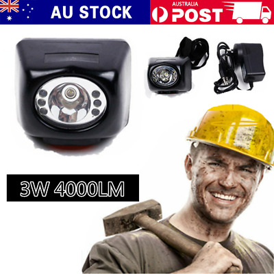 3W 4000LM Miners Cordless LED Helmet Light Safety Cap Lamp Torch with Display