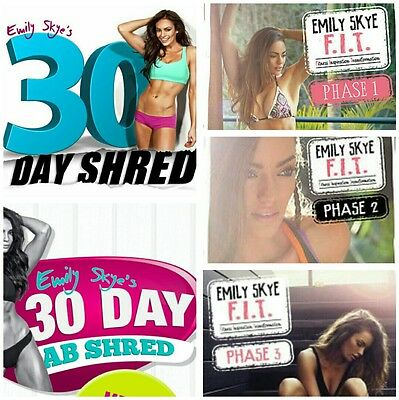EMILY SKYE 7 GUIDES 28 30 Day Shred F.I.T. Phase 1 2 3 Smoothies