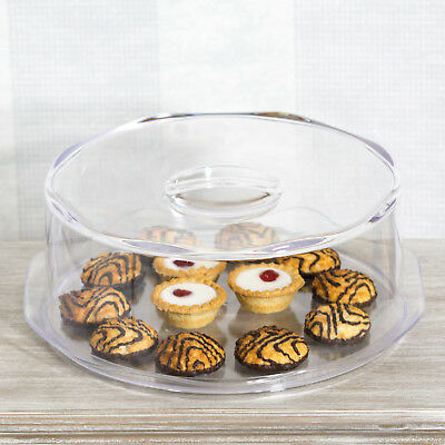 35cm Plastic Cake Serving Display Dome Stand Plate with Cover Cheese Dessert
