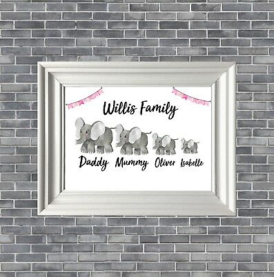 Personalised cute elephant Family Print Gift/Present