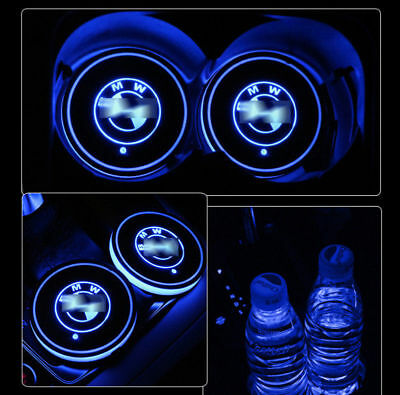 2PCS For BMW LED Light Car Cup Holder Bottom Pad Mat Drinks Atmosphere Lamp