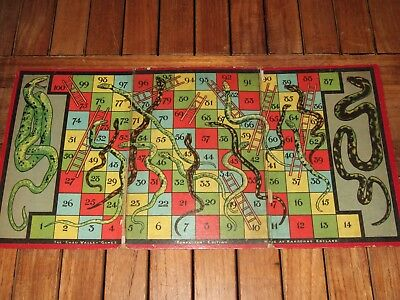 1930s CHAD VALLEY KOMPACTUM Edition. Snakes and Ladders. BOARD. Good Condition.