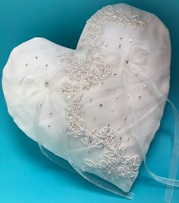FAB Wedding Ring Cushion Bearer Pillow IVORY Sparkly Beads Diamanté Floral LACE