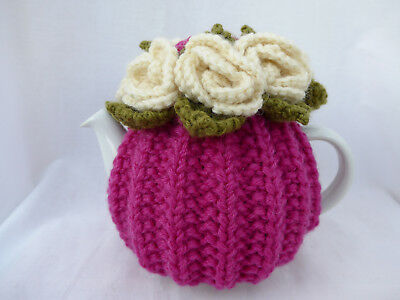 TEA COSY - SMALL 1-2 cup - Hand Knitted Wool Rose Flower - Cream Fuchsia Pink