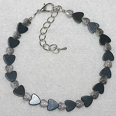 Unique Black Magnetic Hematite Love Hearts Beaded Anklet / Ankle Bracelet Gift