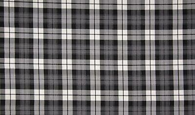 SCOTTISH CHECK Tartan Fabric Material - BLACK GREY WHITE