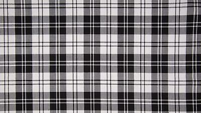 SCOTTISH CHECK Tartan Fabric Material - Erskine Black White