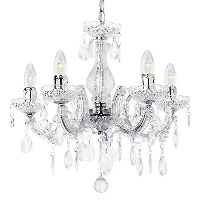 Litecraft Chandelier Ceiling 5 Light Marie Therese Crystal Effect Drop in Chrome